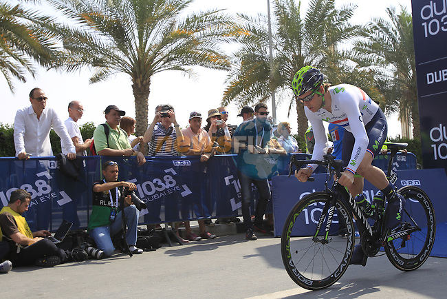 British National Time Trial Champion Alex Dowsett Movistar Team powers off the start ramp for Stage 1, individual time trial over 9.9km, of the inaugural Dubai Tour 2014 held in downtown Dubai, Dubai. 5th February 2014.<br /> Picture: Eoin Clarke www.newsfile.ie