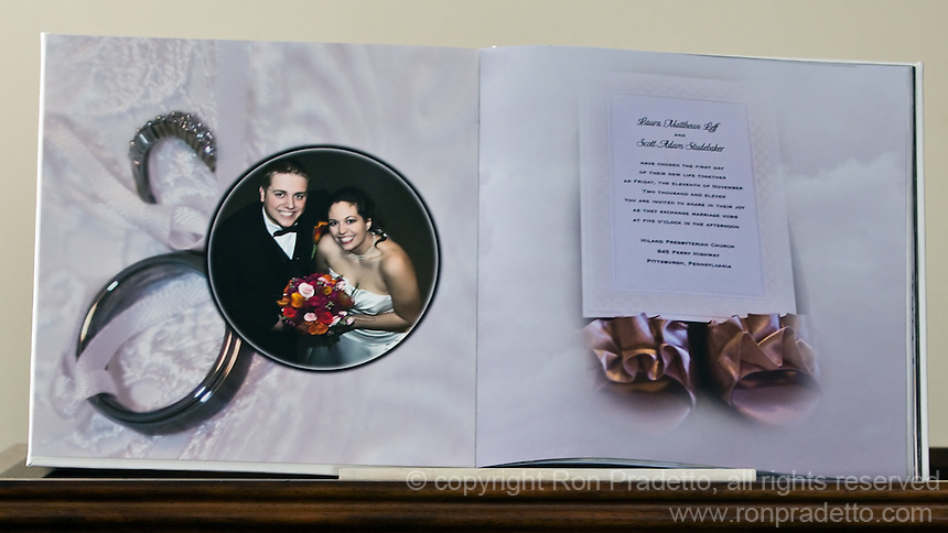 "Actual photograph of two of the pages of the 12"" wedding album. We do all our printing with an Epson Professional 9 ink printer. These pages are printed on Ilford Gallerie Professional, Smooth Lustre paper. A beautiful, heavy weight paper with a smooth luster finish. Albums can be made in almost any size up to 12"" and any amount of pages, minimum 20 pages."