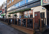 BNPS.co.uk (01202 558833)<br /> Pic: ColinHayes/BNPS<br /> <br /> The Christopher Creeke pub in Bournemouth.<br /> <br /> An overweight man who fell down a flight of stairs says his life was saved by his big belly.<br /> <br /> Colin Hayes, 61, suffered a bleed on the brain when he tumbled down the stairs at a pub in Bournemouth, Dorset.<br /> <br /> But he is adamant he would have been killed had his stomach not cushioned his fall and taken some of its impact.