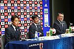 (L to R) <br />  Akira Nishino, <br />  Hajime Moriyasu, <br /> Kozo Tashima (JPN), <br /> OCTOBER 30, 2017 - Football / Soccer : <br /> U-21 Japan's new head coach Hajime Moriyasu attends a press conference at JFA House in Tokyo, Japan. <br /> (Photo by AFLO)