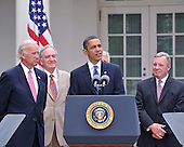 Washington, D.C. - June 22, 2009 -- United States President Barack Obama makes remarks prior to signing the Family Smoking Prevention and Tobacco Control Act in the Rose Garden of the White House on Monday, June 22, 2009.  From left to right: Vice President Joseph Biden, U.S. Senator Tom Harkin (Democrat of iowa), President Obama, and U.S. Senator Dick Durbin (Democrat of Illinois)..Credit: Ron Sachs - Pool via CNP