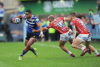 Joe Cokanasiga of Bath Rugby goes round Charlie Sharples and Jason Woodward of Gloucester Rugby during the Gallagher Premiership Rugby match between Bath Rugby and Gloucester Rugby at The Recreation Ground on Saturday 8th September 2018 (Photo by Rob Munro/Stewart Communications)