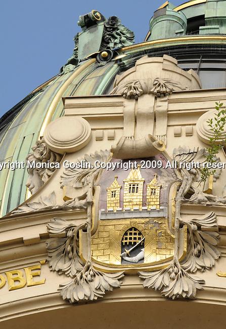 Architectural detail of the Municipal House in Prague, Czech Republic.