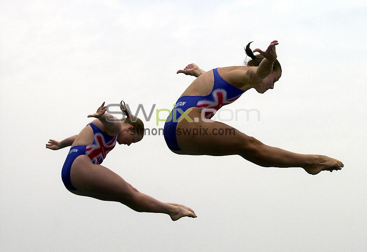 Pix: Matthew Lewis/SWpix.com. Diving. 10th Fina World Championships 2003, Barcelona. 20/07/2003...COPYRIGHT PICTURE>>SIMON WILKINSON>>01943 436649>>..Great Britain's Tandi Gerrard and Jane Smith compete in the Womens 3m Synchronised Springboard final.
