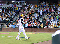 Jacksonville Suns starting pitcher Justin Nicolino (22) walks off the field to a standing ovation during game three of the Southern League Championship Series against the Chattanooga Lookouts on September 12, 2014 at Bragan Field in Jacksonville, Florida.  Jacksonville defeated Chattanooga 6-1 to sweep three games to none.  (Mike Janes/Four Seam Images)
