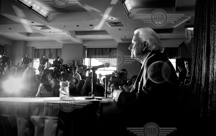 Christian evangelist Billy Graham at a press conference during his crusade held at Flushing Meadows in New York City.