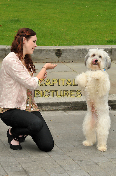 Ashleigh Butler & Pudsey the dog unveil new PETA ad in Westminster. Britain's Got Talent stick up for wild animals who are forced to perform and made to suffer in the circus industry.  Ashleigh Butler and her canine sidekick Pudsey appear in hard-hitting new anti-circus ad.  The Old Palace Yard, Palace of Westminster, Westminster, London, England..June 21st, 2012.full length black jeans denim cream top beige print shirt dog animal pet standing trick side profile kneeling .CAP/BF.©Bob Fidgeon/Capital Pictures.