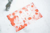 A campaign sign lays on the ground covered in snow after Republican presidential candidate and former Florida governor Jeb Bush spoke at a town hall in Souhegan High School in Amherst, New Hampshire.