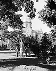 GPHR 45/0041:  A group of students on Main Quad with Main Building in the background, c1950s..Image from the University of Notre Dame Archives.