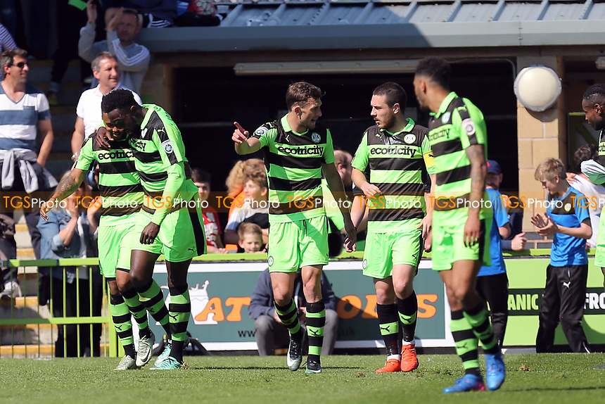 Keanu Marsh-Brown of Forest Green Rovers is congratulated after scoring the second goal during Forest Green Rovers vs Dagenham & Redbridge, Vanarama National League Play-Off Football at The New Lawn on 7th May 2017