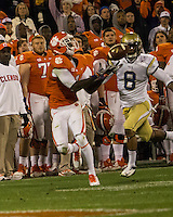 The eighth ranked Clemson Tigers defeat the Georgia Tech Yellow Jackets at Death Valley 55-31 in an ACC matchup.  Clemson Tigers wide receiver Martavis Bryant (1) catches a 3rd quarter touchdown pass over Georgia Tech Yellow Jackets cornerback Louis Young (8)
