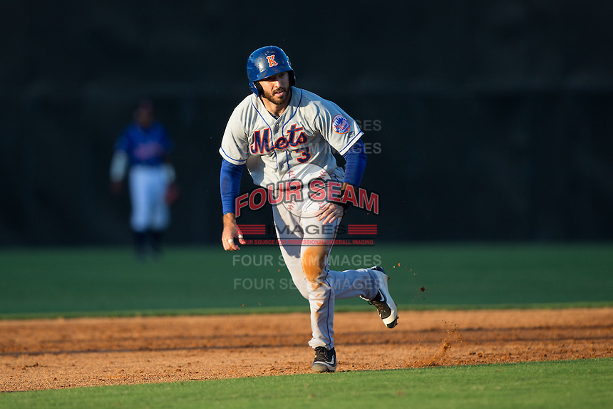 Jeremy Wolf (3) of the Kingsport Mets hustles towards third base against the Danville Braves at American Legion Post 325 Field on July 9, 2016 in Danville, Virginia.  The Mets defeated the Braves 10-8.  (Brian Westerholt/Four Seam Images)
