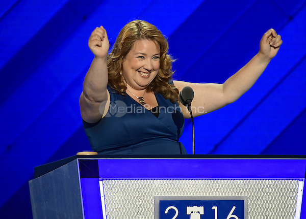 State Representative Diane Russell (Democrat of Maine), a Bernie Sanders supporter, makes remarks at the 2016 Democratic National Convention at the Wells Fargo Center in Philadelphia, Pennsylvania on Monday, July 25, 2016.<br /> Credit: Ron Sachs / CNP/MediaPunch<br /> (RESTRICTION: NO New York or New Jersey Newspapers or newspapers within a 75 mile radius of New York City)