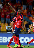 MEDELLIN - COLOMBIA: 20 - 04 - 2017: Andres Mosquera, jugador de Deportivo Independiente Medellin, celebra el gol anotado a Melgar, durante partido de la fase de grupos, grupo 3, fecha 3 entre Deportivo Independiente Medellin de Colombia y Melgar de Peru por la Copa  Conmebol Libertadores Bridgestone 2017 en el Estadio Atanasio Girardot, de la ciudad de Medellin. / Andres Mosquera, player of Deportivo Independiente Medellin, celebrates the goal scored to Melgar, during a match for the group stage, group 3 of the date 3, between Deportivo Independiente Medellin of Colombia and Melgar of Peru for the Conmebol Libertadores Bridgestone Cup 2017, at the Atanasio Girardot, Stadium, in Medellin city. Photos: VizzorImage / Leon Monsalve / Cont.