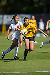 Kahla Seymour (20) of the Wake Forest Demon Deacons battles for the ball with Alana O'Neill (5) of the Syracuse Orange at Spry Soccer Stadium on October 26, 2014 in Winston-Salem, North Carolina.  The Demon Deacons and the Orange played to a 0-0 tie.   (Brian Westerholt/Sports On Film)