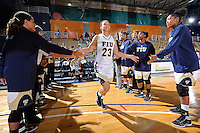 11 November 2011:  FIU's Finda Mansare (23) is welcomed to the court prior to the game.  The FIU Golden Panthers defeated the Jacksonville University Dolphins, 63-37, at the U.S. Century Bank Arena in Miami, Florida.
