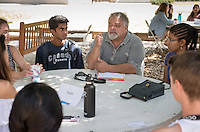 James Sadd, Professor, Environmental Science. Incoming first years meet with their faculty advisors during the Major Information Sessions & Advising part of Orientation in the Academic Quad, Aug. 24, 2015.<br /> (Photo by Marc Campos, Occidental College Photographer)