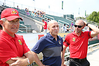 Cary, North Carolina  - Saturday April 29, 2017: Joe Sahlen, Paul Riley, and Aaron Lines during a pregame ceremony honoring the Western New York Flash for winning the 2016 NWSL championship prior to regular season National Women's Soccer League (NWSL) match between the North Carolina Courage and the Orlando Pride at Sahlen's Stadium at WakeMed Soccer Park.