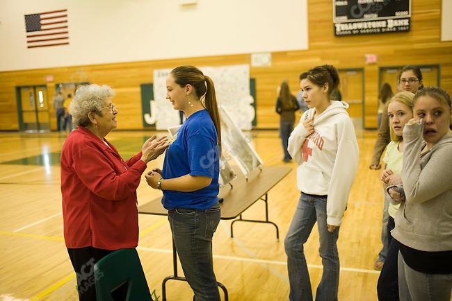 Noemi Ban, Holocaust survivor, speaks to high school students. Joliet, Montana, May 2, 2007.