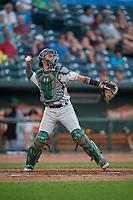 Clinton LumberKings catcher Will Banfield (11) throws down to second base during a Midwest League game against the Great Lakes Loons on July 19, 2019 at Dow Diamond in Midland, Michigan.  Clinton defeated Great Lakes 3-2.  (Mike Janes/Four Seam Images)
