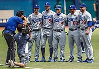 Pitcher de juego sin hit ni carreras. No No. <br /> Walker Buehler, Alex Wood, Adam Liberatore (R) , Yasmani Grandal (9)<br /> <br /> <br /> Acciones del partido de beisbol, Dodgers de Los Angeles contra Padres de San Diego, tercer juego de la Serie en Mexico de las Ligas Mayores del Beisbol, realizado en el estadio de los Sultanes de Monterrey, Mexico el domingo 6 de Mayo 2018.<br /> (Photo: Luis Gutierrez)
