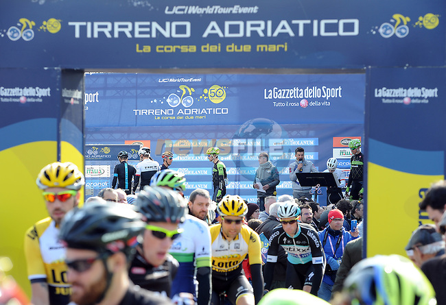 Riders sign on for Stage 4 of the 2015 Tirreno-Adriatico cycle race running 226km from Indicatore to Castelraimondo, Italy. 14th March 2015. <br /> Photo: ANSA/Daniel Dal Zennaro/www.newsfile.ie