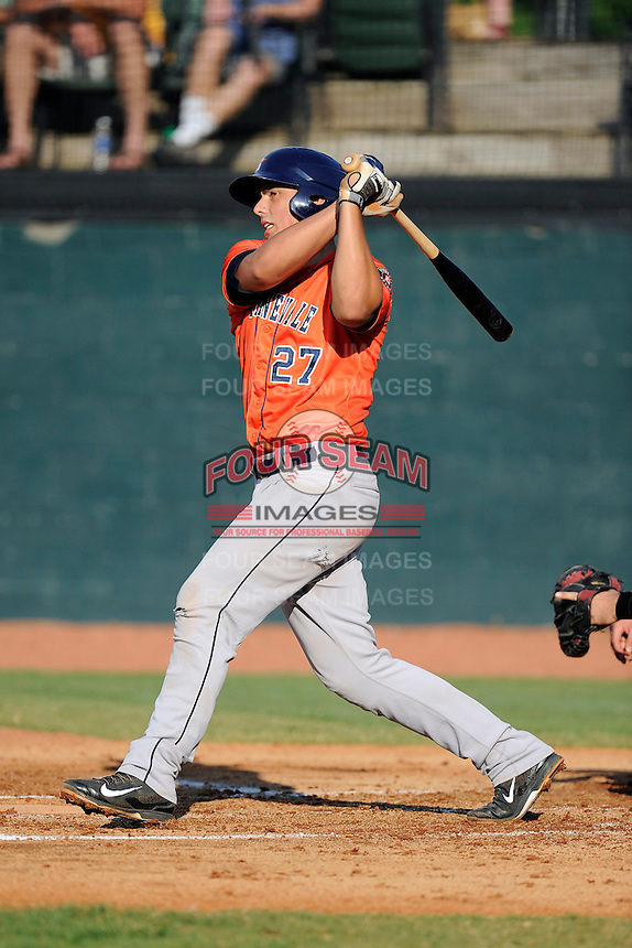 Catcher Jacob Nottingham (27) of the Greeneville Astros bats in a game against the Bristol Pirates on Saturday, July 26, 2014, at DeVault Memorial Stadium in Bristol, Virginia. Greeneville won, 2-1 in Game 1 of a doubleheader. (Tom Priddy/Four Seam Images)