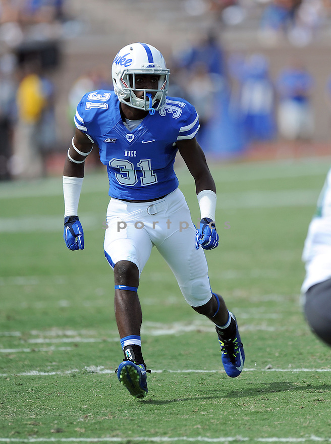 Duke Blue Devils Breon Borders (31) during a game against the Tulane Green Wave on September 20, 2014 at Wallace Wade Stadium in Durham, NC. Duke beat Tulane 47-13.
