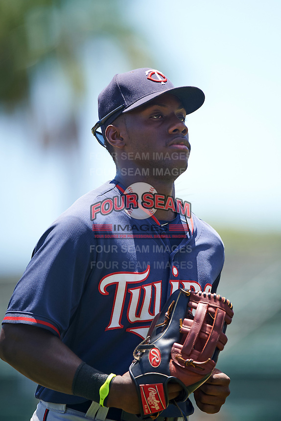 GCL Twins right fielder Akil Baddoo (25) jogs to the dugout during a game against the GCL Orioles on August 11, 2016 at the Ed Smith Stadium in Sarasota, Florida.  GCL Twins defeated GCL Orioles 4-3.  (Mike Janes/Four Seam Images)