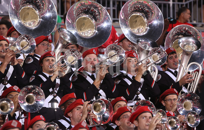 "The Ohio State University Marching Band plays ""Hang On Sloopy"" between the third and fourth quarter during Saturday's NCAA Division I football game at Ohio Stadium in Columbus on September 28, 2013. Ohio State beat Wisconsin 31-24. (Barbara J. Perenic/Columbus Dispatch)"