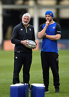 Todd Blackadder and Dave Attwood of Bath Rugby look on prior to the match. Gallagher Premiership match, between Bath Rugby and Wasps on May 5, 2019 at the Recreation Ground in Bath, England. Photo by: Patrick Khachfe / Onside Images