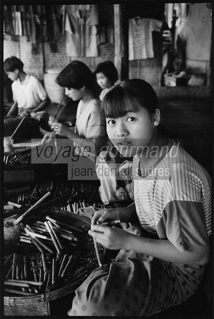 Asie/Birmanie/Myanmar/Plateau Shan/Ywathit: Lac Inle - Fabrique de cigares