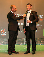 Thursday 10th May 2018 | Ulster Rugby Awards 2018<br /> <br /> Stephen Watson interviews the Bank of Ireland Ulster Player of the Year Award winner John Cooney, during the 2018 Heineken Ulster Rugby Awards at La Mom Hotel, Belfast. Photo by John Dickson / DICKSONDIGITAL
