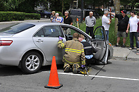 Gatineau (Qc) CANADA - June 2011 File Photo - accident simulations at an  exibition of fire truck and EMS equipments