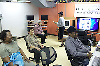 HICAP instructor Merle Bush holds a class at The Gen Chauncey M. Hooper Towers, that hosts the Harlem Internet Computer Access program taught by instructor Merle Bush in Harlem, Manhattan, NY, USA on November 16, 2011.