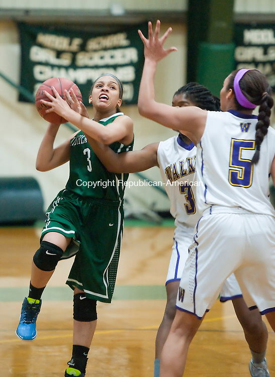 WATERBURY,  CT-021115JS09- Chase's Josephine Ferriera-Leach (3) gets hit by Ethal Ealker's Alexa Lochner (3) while putting up a shot over Lochner and Kennedi Rookwood (5) during their game Wednesday at Chase in Waterbury.<br /> Jim Shannon Republican-American