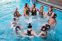 The Occidental College women's water polo team plays against Caltech in Taylor Pool on the campus of Occidental College, Los Angeles, California, April 1, 2009. (Photo by Marc Campos, College Photographer, Copyright Occidental College 2009)