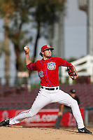 Mark Sappington #22 of the Inland Empire 66'ers pitches against the Lake Elsinore Storm at San Manuel Stadium on June 23, 2013 in San Bernardino, California. Lake Elsinore defeated Inland Empire, 6-2. (Larry Goren/Four Seam Images)