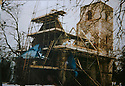 19/10/14 <br /> <br /> Collect photo showing the church roof being rebuilt in 1996.<br /> <br /> How one man&rsquo;s twenty-two year crusade to save a derelict church was bedeviled with problems but proved to be anything but folly.<br /> <br /> An Anglo Saxon church where unique ancient wall paintings were uncovered will soon begin the next phase of restoration . Church Warden, Bob Davey, 85 still opens the church to visitors every day and continues to oversee the restoration.<br /> <br /> Full copy here:<br /> <br /> http://www.fstoppress.com/articles/bob-davey-st-marys-church/<br /> <br /> All Rights Reserved - F Stop Press.  www.fstoppress.com. Tel: +44 (0)1335 300098