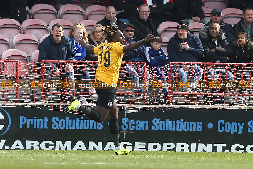 Tomi Adeloye of Dagenham and Redbridge scores the first goal for his team and celebrates during Ebbsfleet United vs Dagenham & Redbridge, Vanarama National League Football at The Kuflink Stadium on 13th April 2019