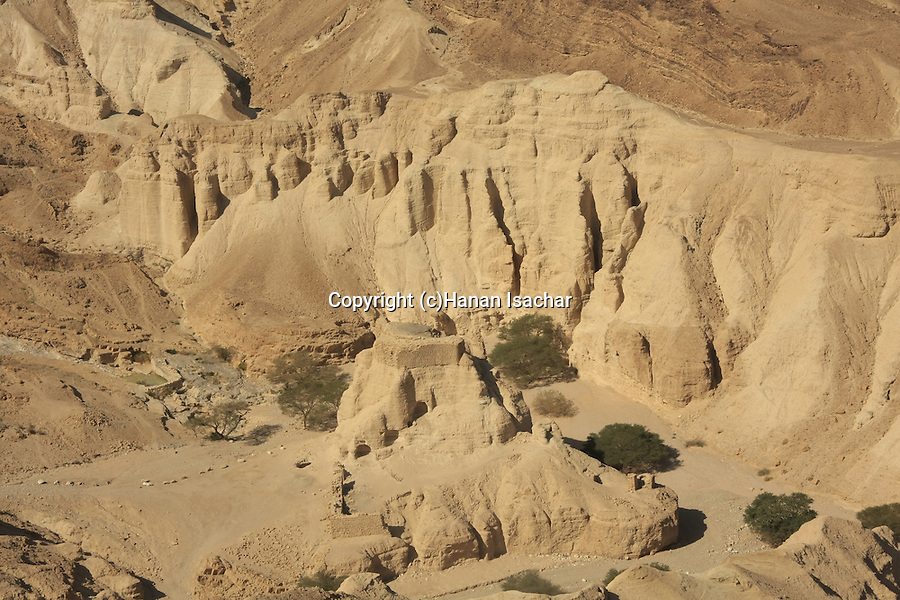 Israel, Judean Desert, Zohar Fortress in Wadi Zohar, a view from Route 31