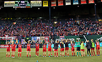 Portland, OR - Wednesday June 28, 2017: Thorns salute supporters after the match during a regular season National Women's Soccer League (NWSL) match between the Portland Thorns FC and FC Kansas City at Providence Park.
