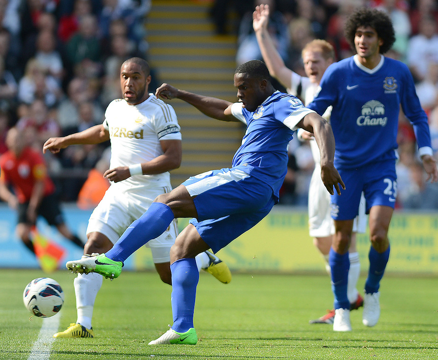 Everton's Victor Anichebe scores his sides first goal  ..Football - Barclays Premiership - Swansea City v Everton - Saturday 22nd September 2012 - Liberty Stadium - Swansea..