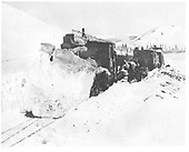 Flanger derailed plowing snow on Cumbres Pass.<br /> D&amp;RG  Cumbres, CO  ca 1924