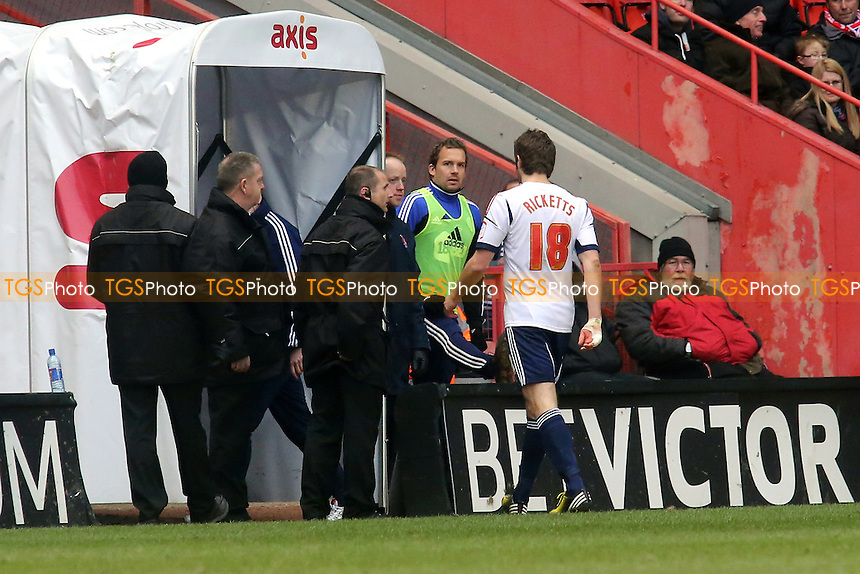 Samuel Rickets of Bolton is sent off - Charlton Athletic vs Bolton Wanderers - NPower Championship Football at the Valley, London - 30/03/13 - MANDATORY CREDIT: Paul Dennis/TGSPHOTO - Self billing applies where appropriate - 0845 094 6026 - contact@tgsphoto.co.uk - NO UNPAID USE.