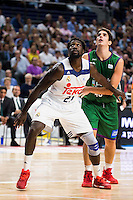 Real Madrid's player Othello Hunter and Unicaja Malaga's player Carlos Suarez during match of Liga Endesa at Barclaycard Center in Madrid. September 30, Spain. 2016. (ALTERPHOTOS/BorjaB.Hojas) /NORTEPHOTO.COM