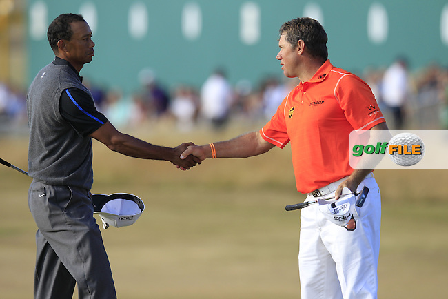 Lee WESTWOOD (ENG) and Tiger WOODS (USA)  shake hands after round 3 of  The 142th Open Championship Muirfield, Gullane, East Lothian, Scotland 20/7/2013<br /> Picture Eoin Clarke www.golffile.ie: