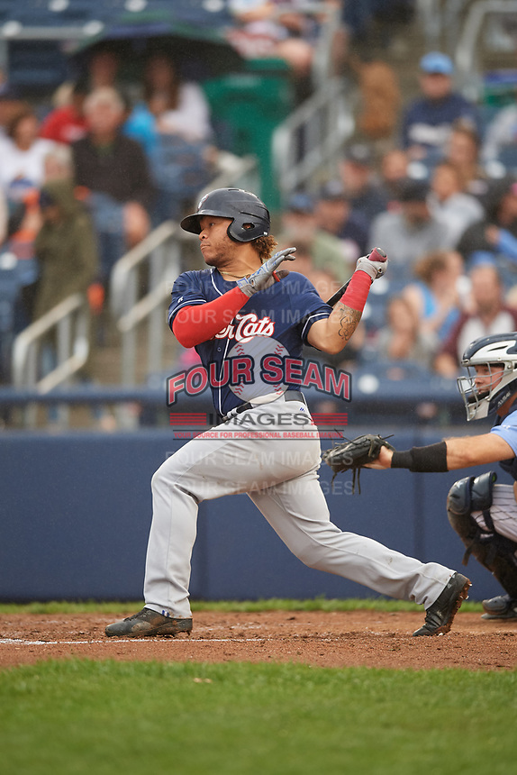 New Hampshire Fisher Cats left fielder Harold Ramirez (31) follows through on a swing during a game against the Trenton Thunder on August 19, 2018 at ARM & HAMMER Park in Trenton, New Jersey.  New Hampshire defeated Trenton 12-1.  (Mike Janes/Four Seam Images)