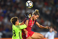Carson, CA - Thursday August 03, 2017: Ayaka Yamashita, Lynn Williams during a 2017 Tournament of Nations match between the women's national teams of the United States (USA) and Japan (JPN) at the StubHub Center.