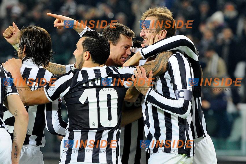 Esultanza gol di Giorgio Chiellini 2-0 Juventus. Goal celebration<br /> Torino 02-02-2014 Juventus Stadium - Football 2013/2014 Serie A. Juventus - Inter Foto Giuseppe Celeste / Insidefoto